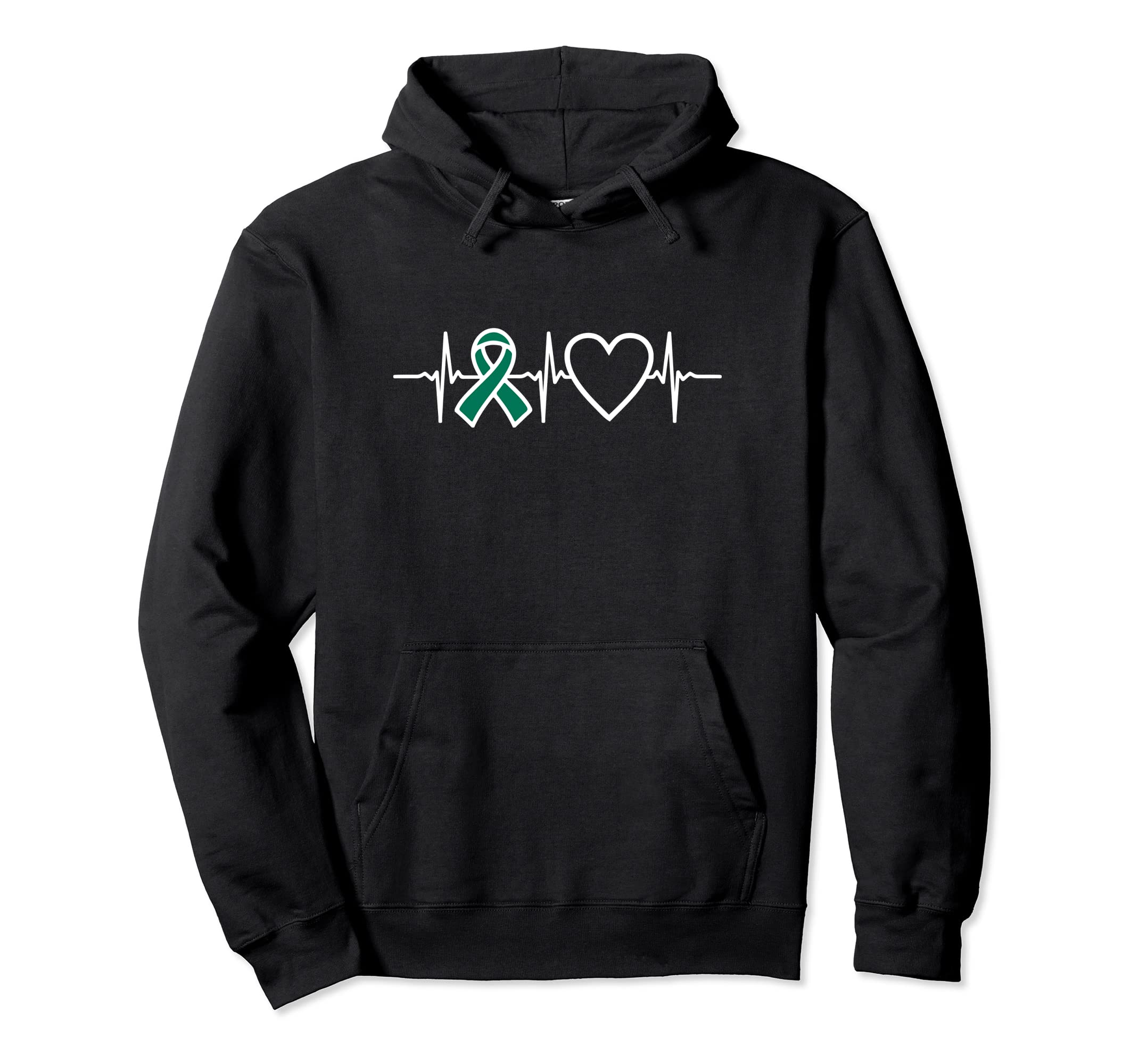 Awareness Ribbon Heartbeat Hoodie Liver Cancer Green-Veotee