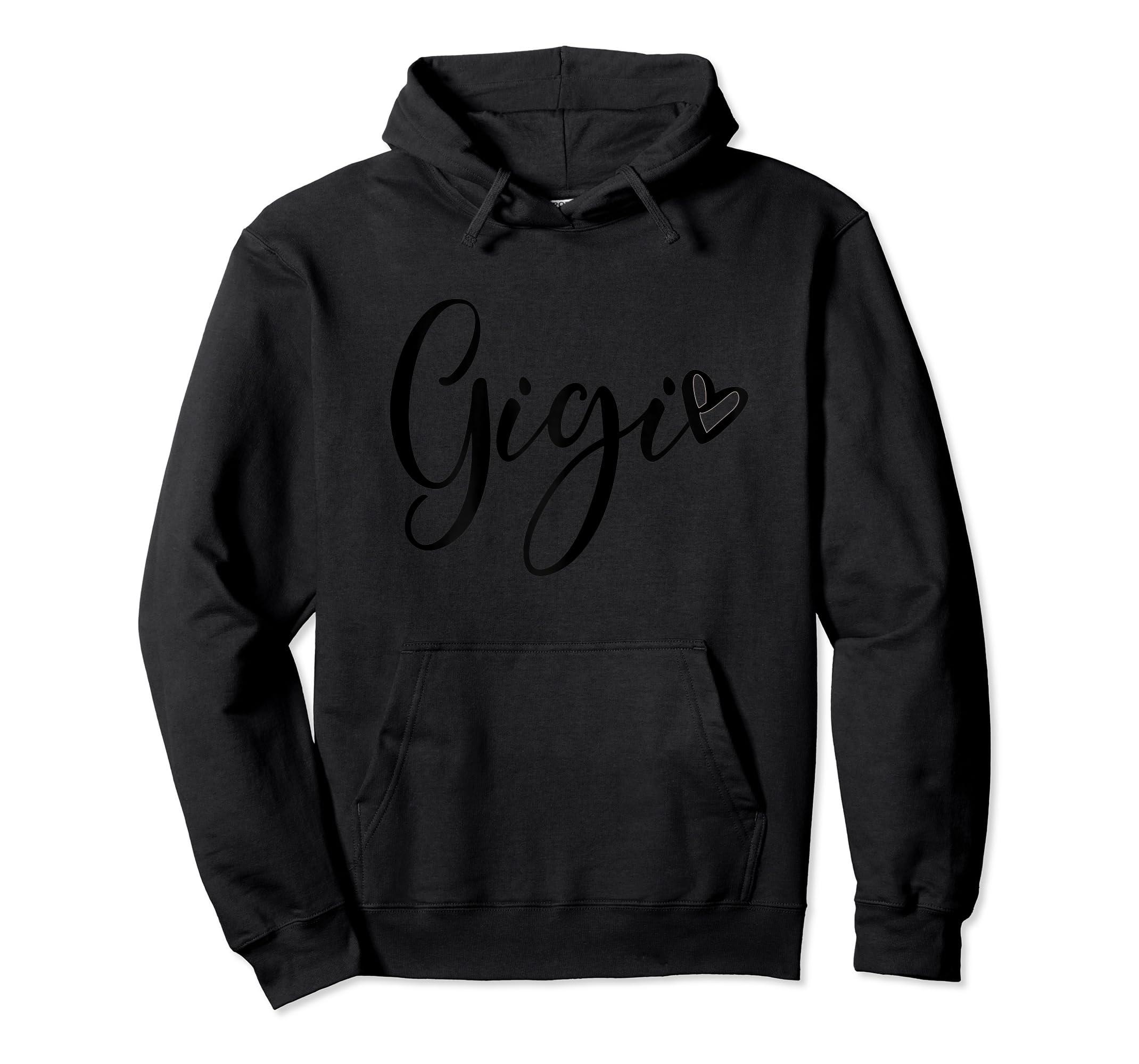 Womens Gigi Grandma T Shirt Pregnancy Announcement Mother's Day-Hoodie-Black