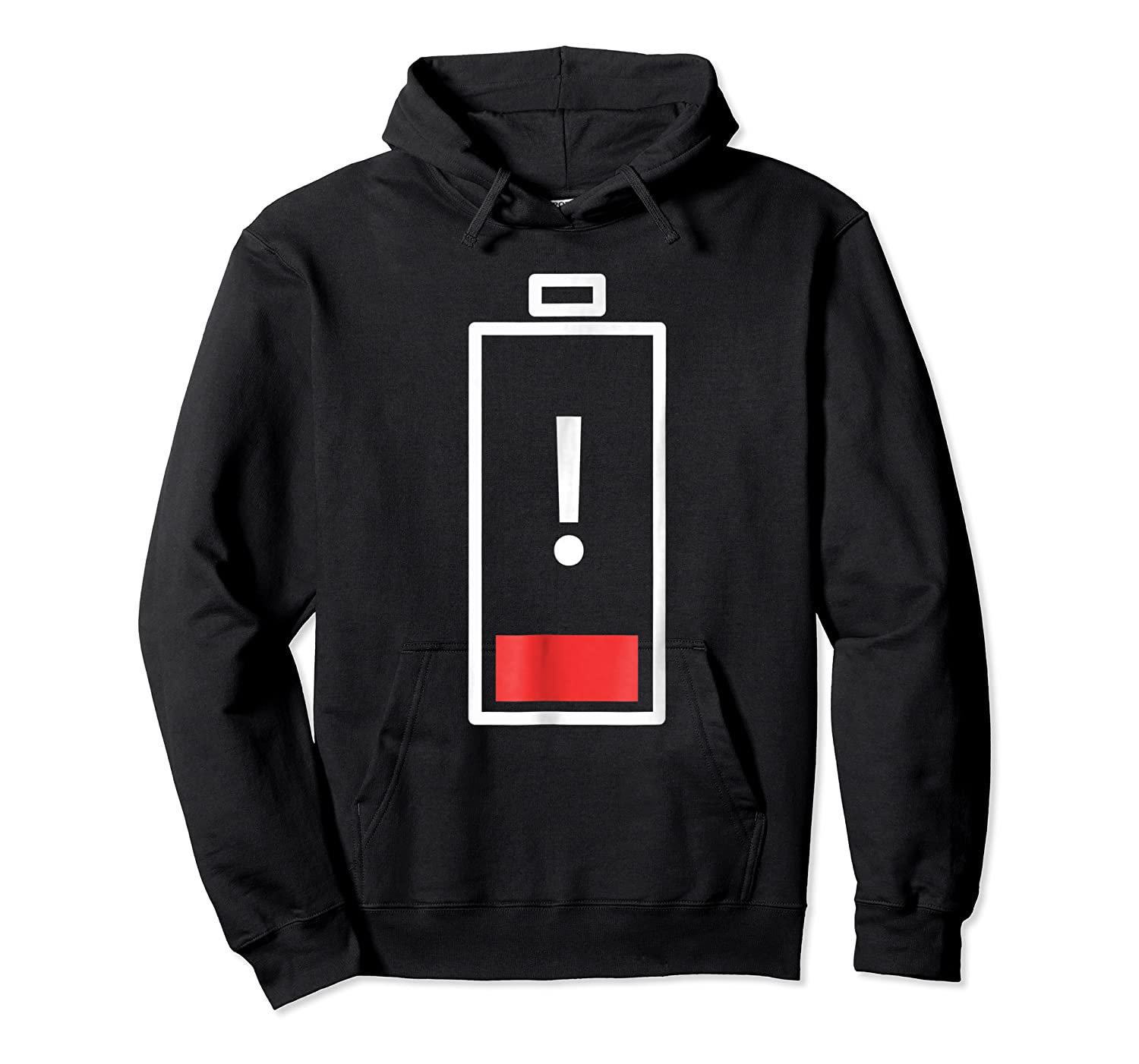 Funny Low Battery Attention Symbol. Tired Parenting Mom Dad Shirts Unisex Pullover Hoodie