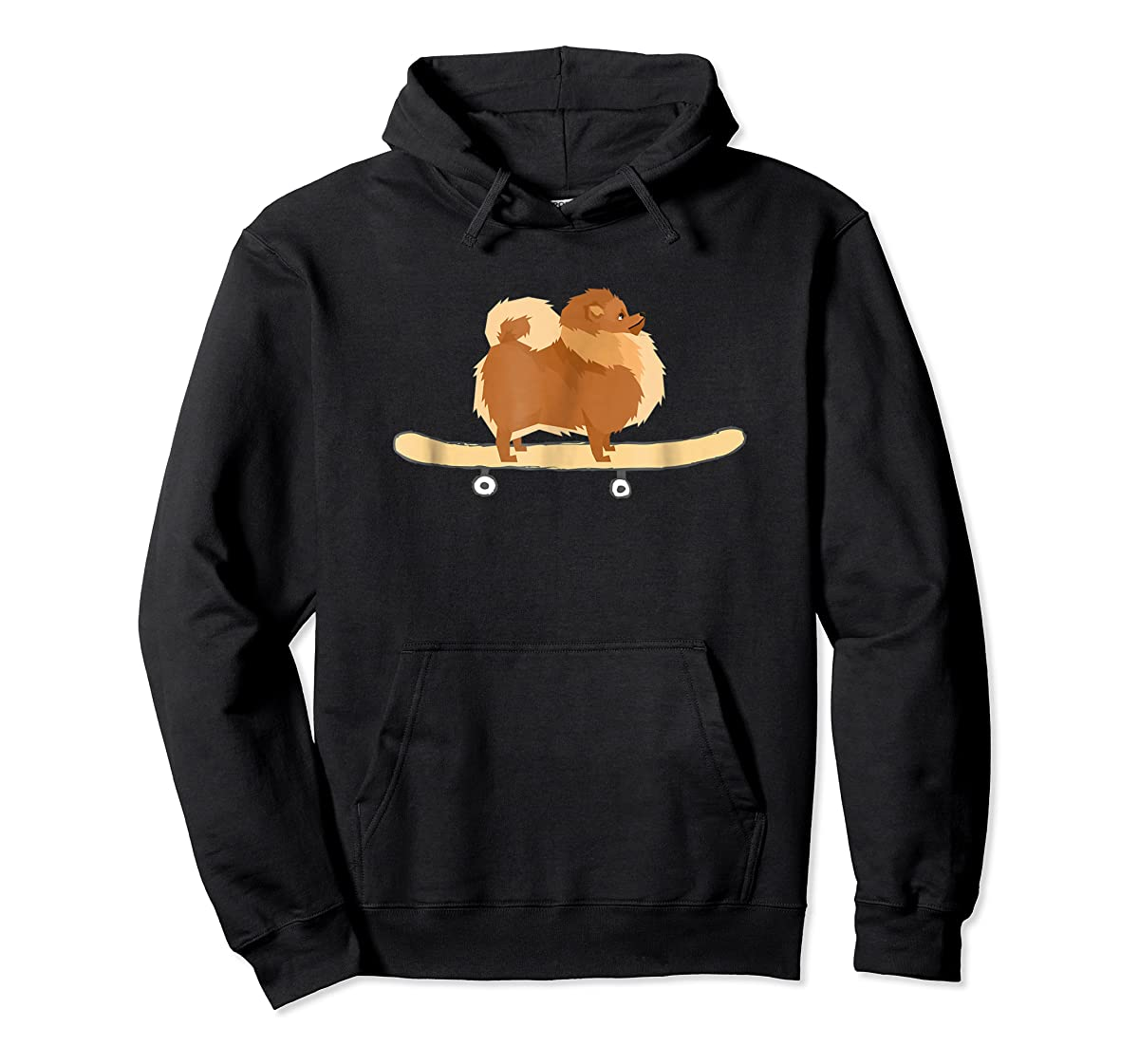 Funny Skateboarding Pomeranian Pom Puppy T-Shirt Gift-Hoodie-Black