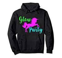 Colorful Glow Party 90's Unicorn Disco Style Dance Shirts Hoodie Black