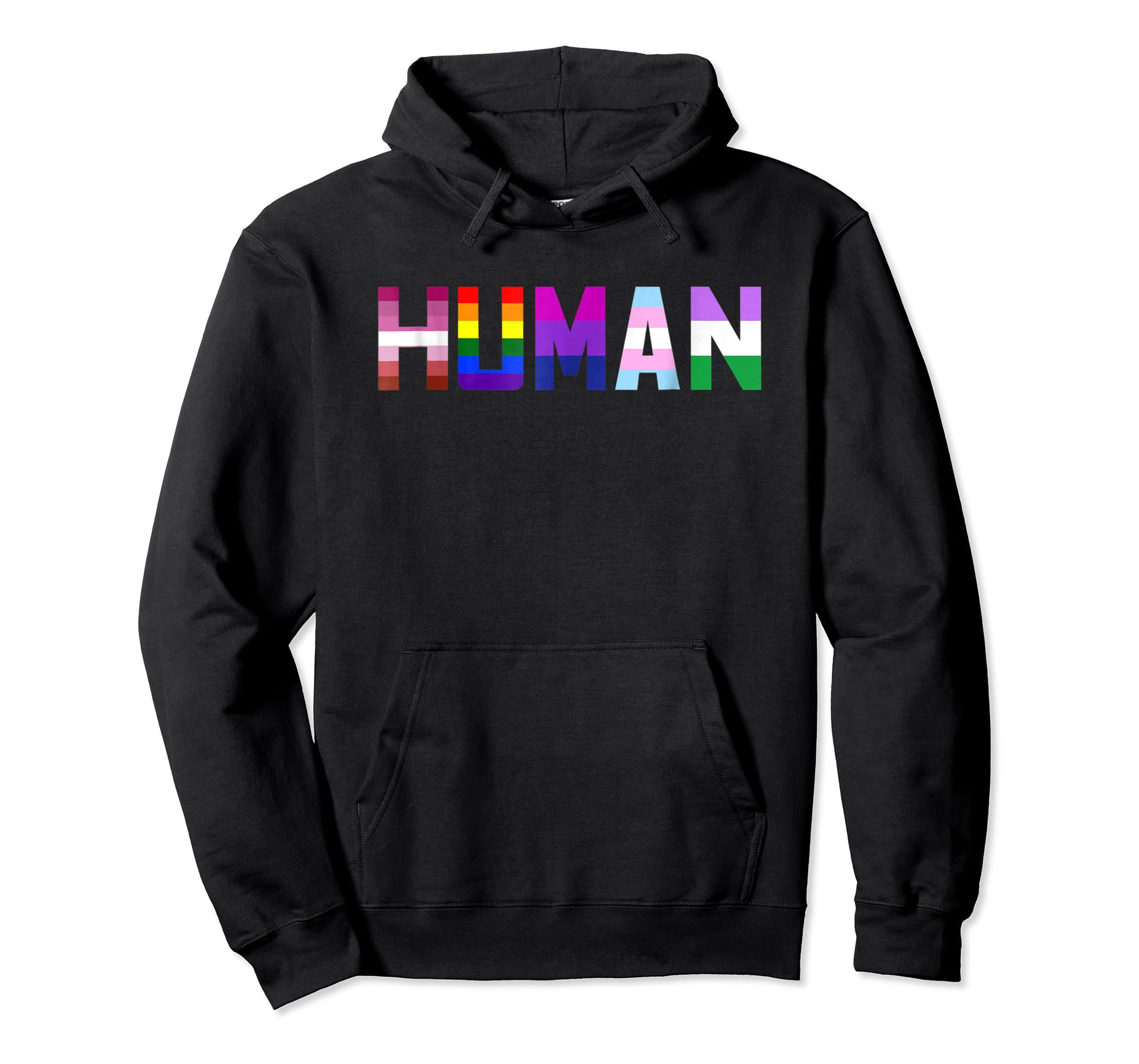 HUMAN Flag LGBT Gay Pride Month Transgender Ally T Shirt-Hoodie-Black