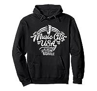 Music City Usa Nashville Retro T Shirt Hoodie Black