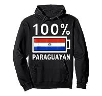 Paraguay Flag T Shirt 100 Paraguayan Battery Power Tee Hoodie Black