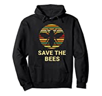 Save The Bees T Shirt Vintage Sunset Bees Gift Shirt Hoodie Black