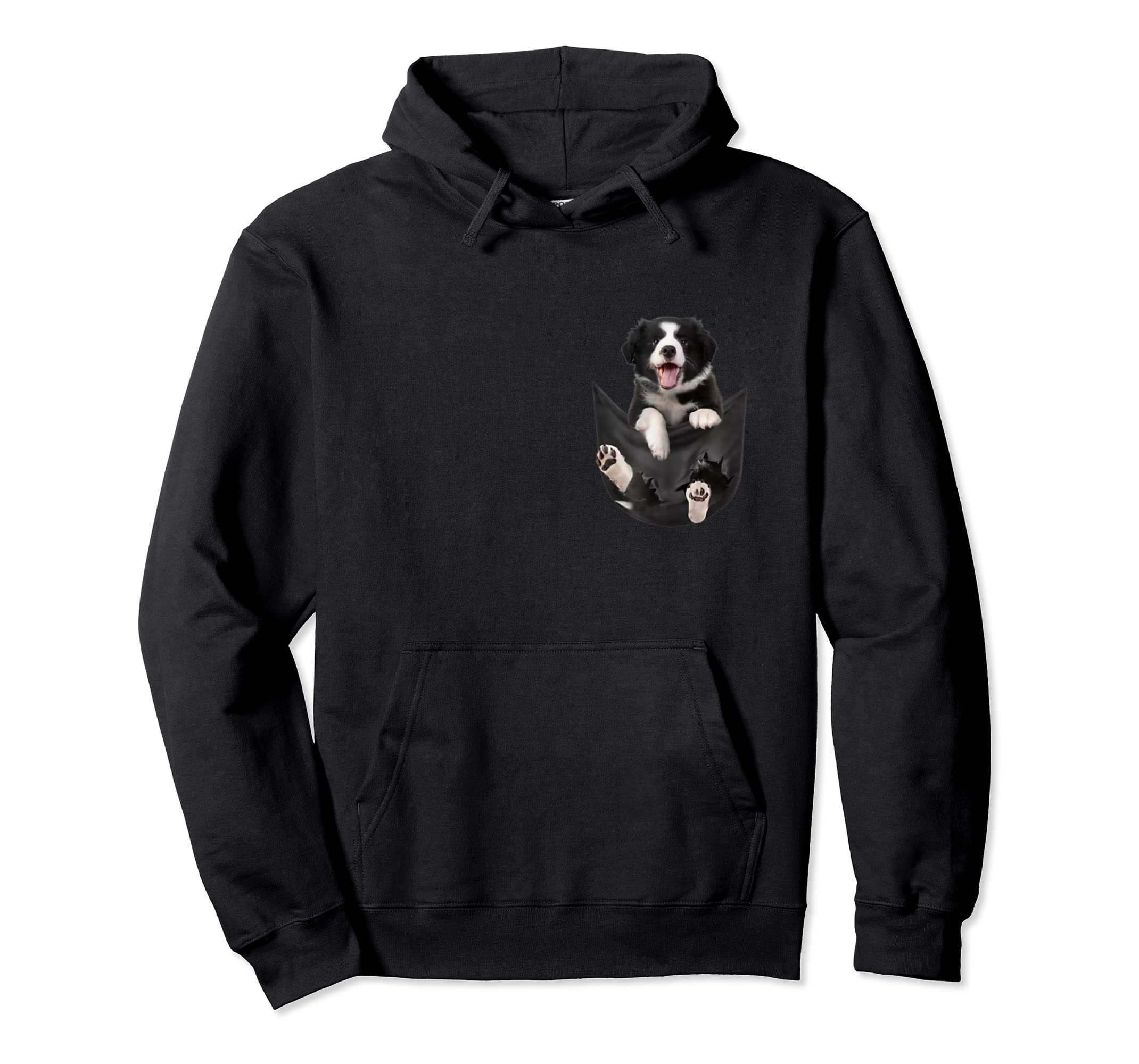 Border Collies Inside In Pocket Dog Lover T shirt Funny Cute-Hoodie-Black