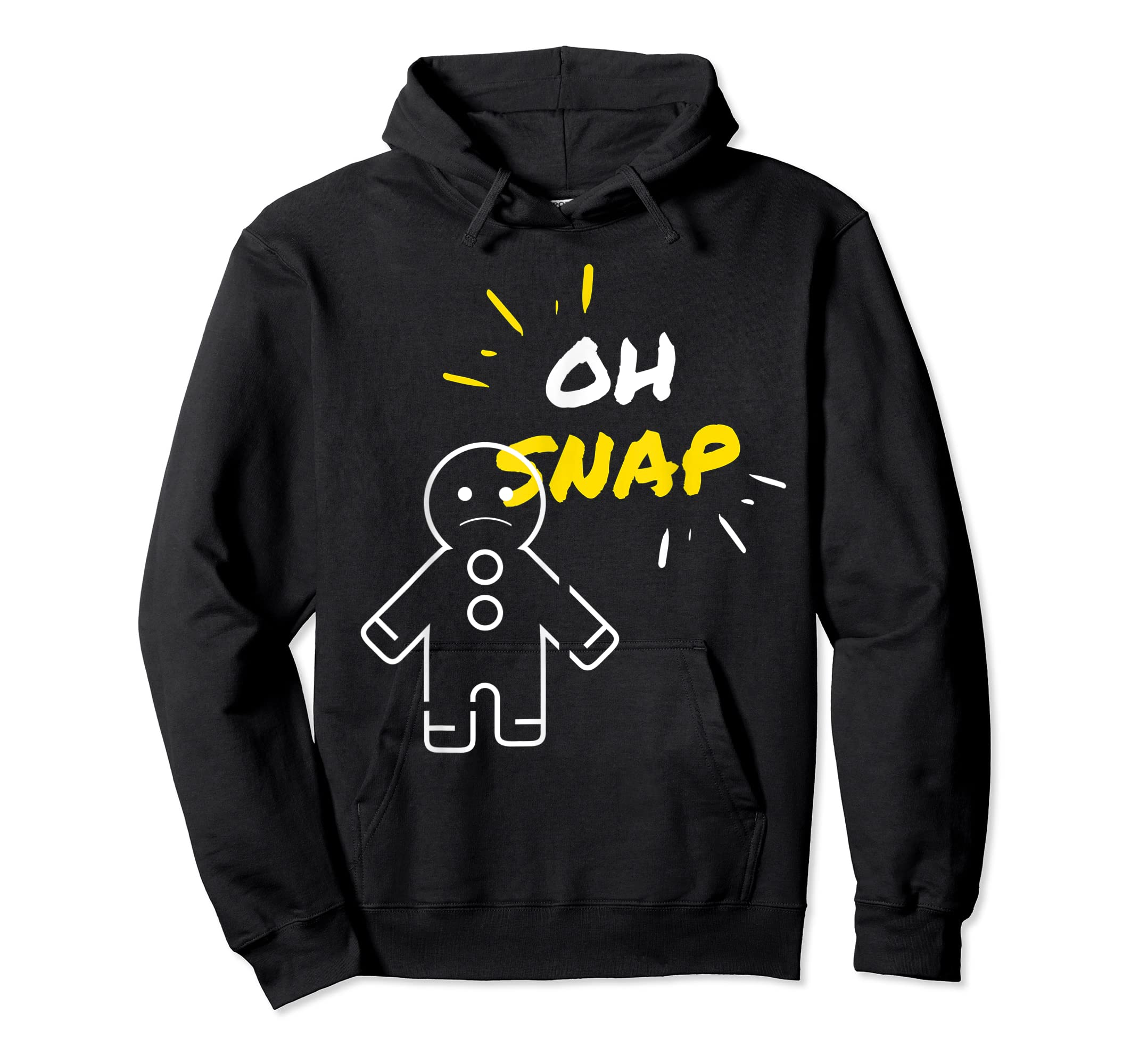 Oh Snap Christmas Gingerbread Man Holiday Cookies Funny T-Shirt-Hoodie-Black
