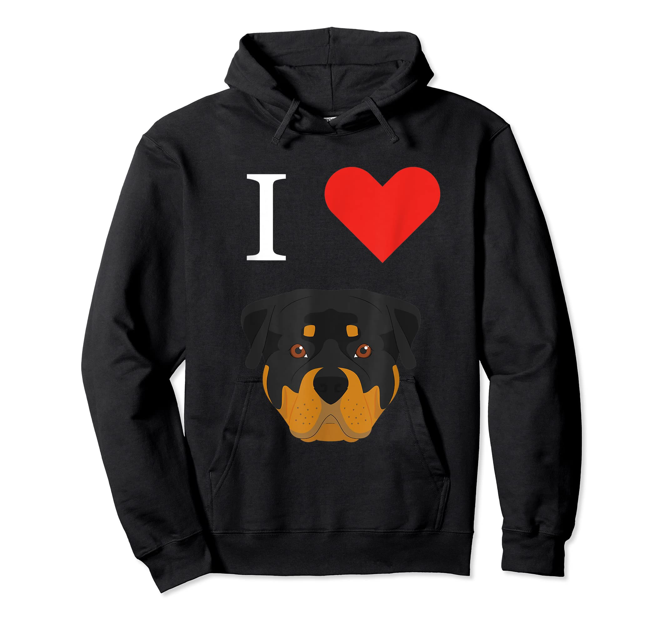 I Love My Rottweiler Dog T-Shirt-Hoodie-Black