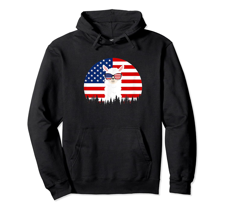 Alpaca Sunglasses American Flag 4th Of July T-shirt Unisex Pullover Hoodie