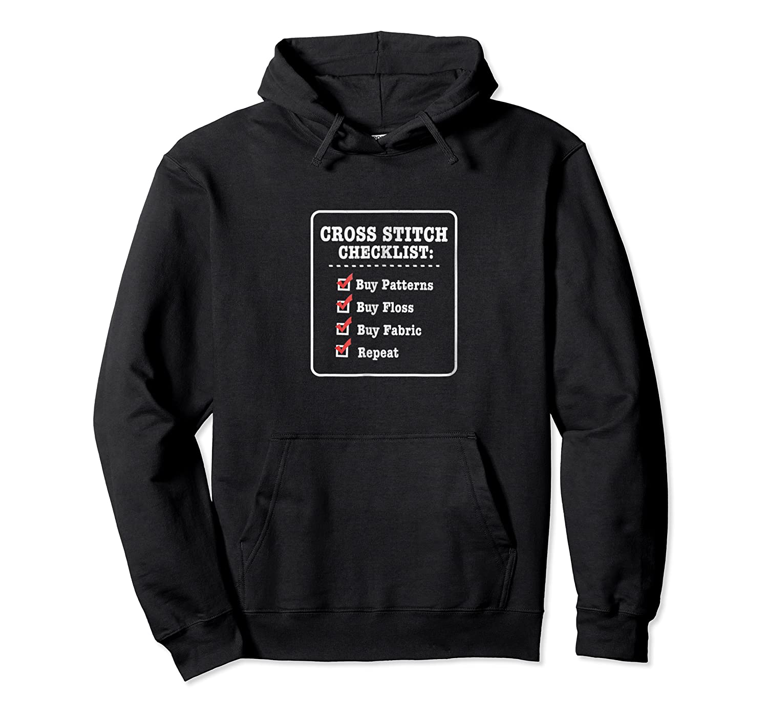 Cross Stitching T-shirt - Funny Checklist Unisex Pullover Hoodie