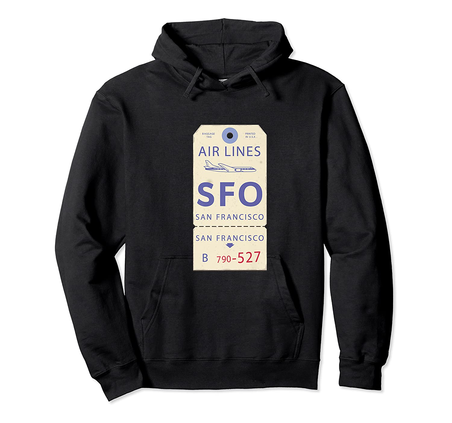 Vintage Baggage Tag For San Francisco Airport Sfo Shirts Unisex Pullover Hoodie