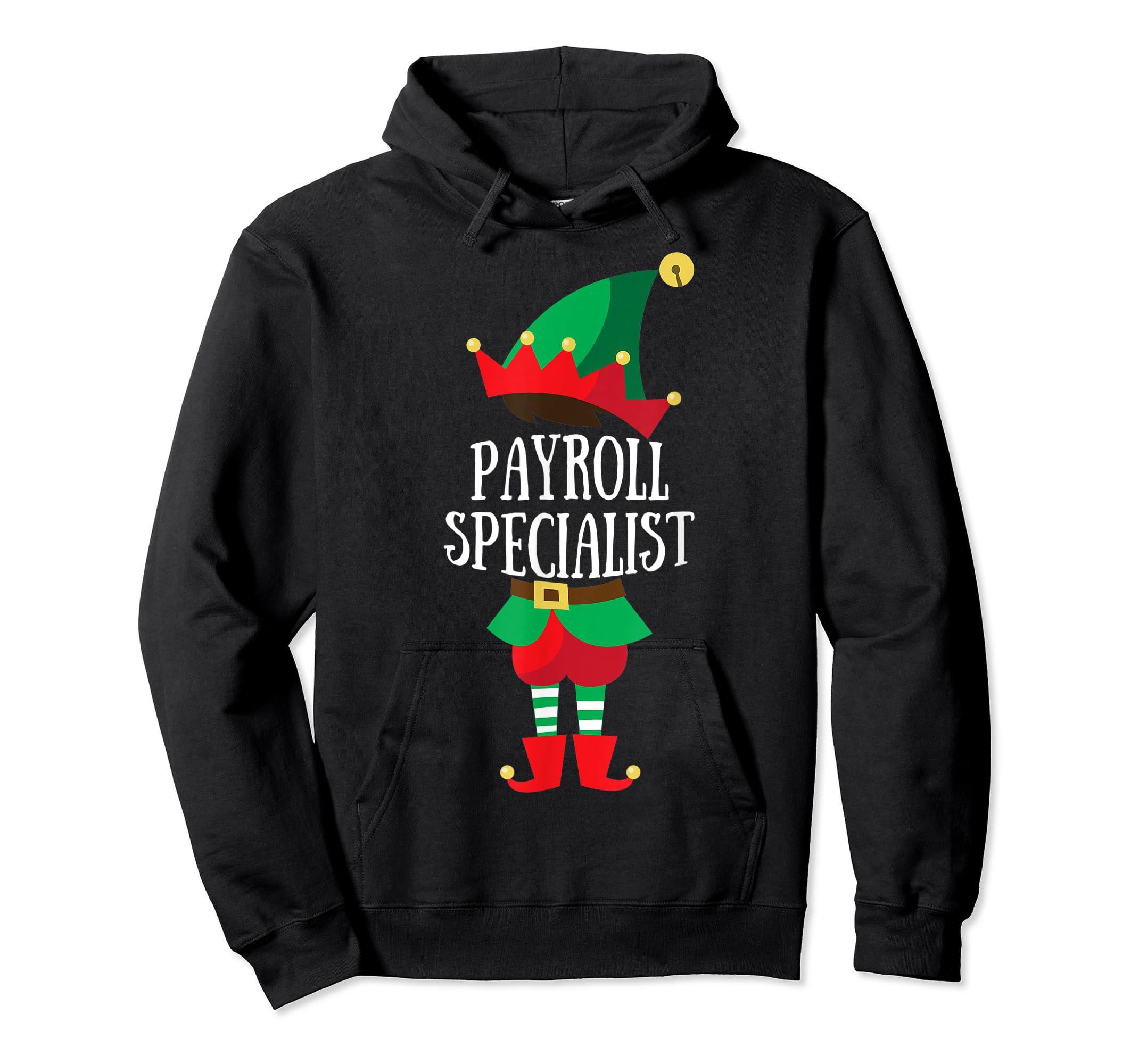Elf Payroll Specialist Christmas Group Matching T-Shirt-Hoodie-Black