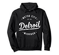 Retro Vintage Detroit Michigan Motor City T Shirt Souvenir Hoodie Black
