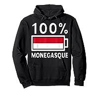 Monaco Flag T Shirt 100 Monegasque Battery Power Tee Hoodie Black