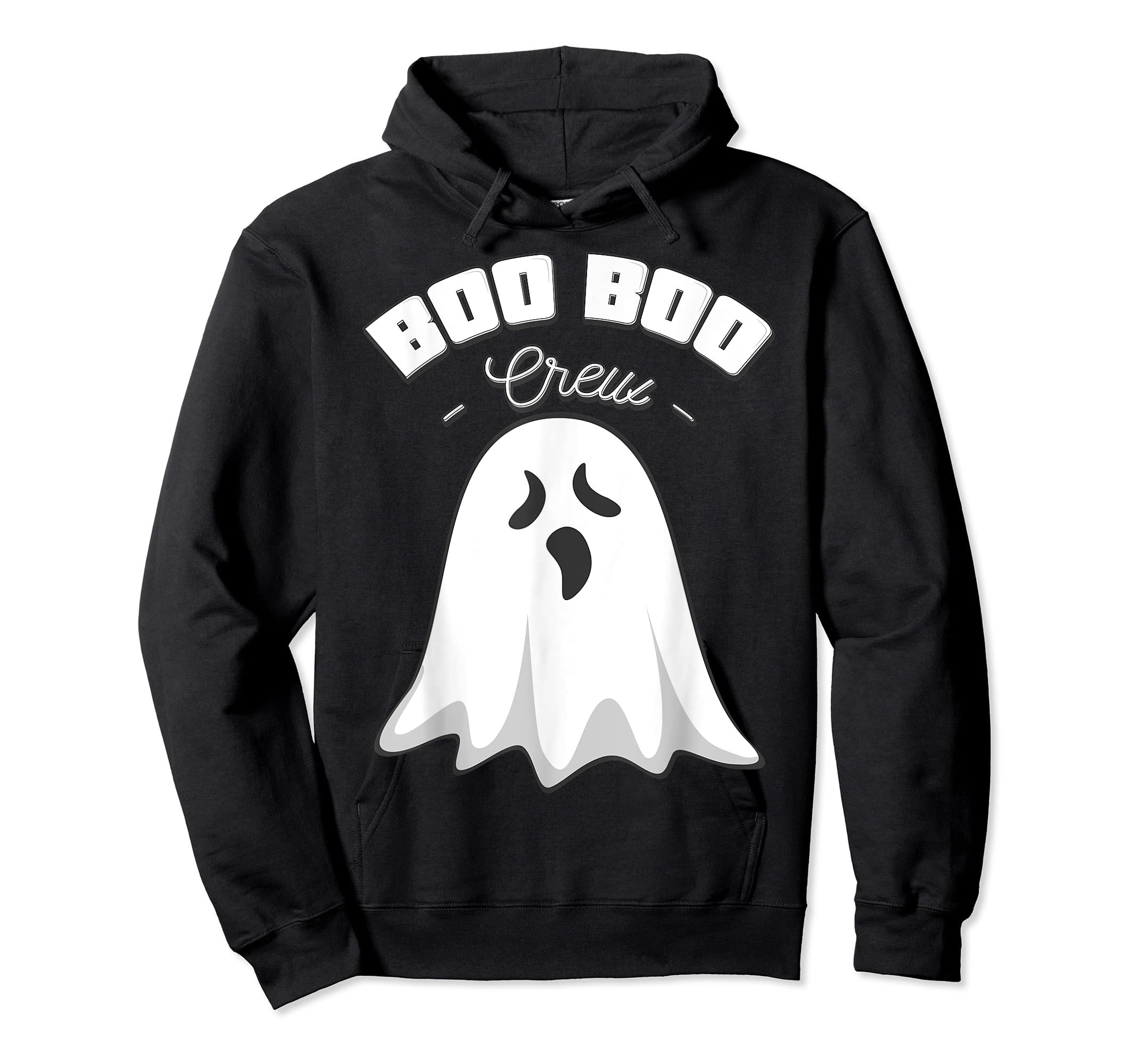 Boo Boo Crew Ghost Funny Halloween Black and Orange Night  T-Shirt-Hoodie-Black