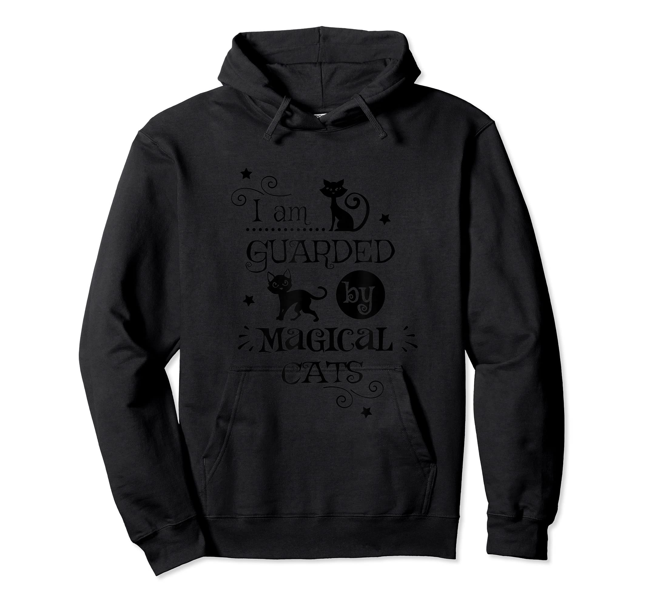 Guarded By Magical Cats Cat Halloween Costume T-Shirt-Hoodie-Black