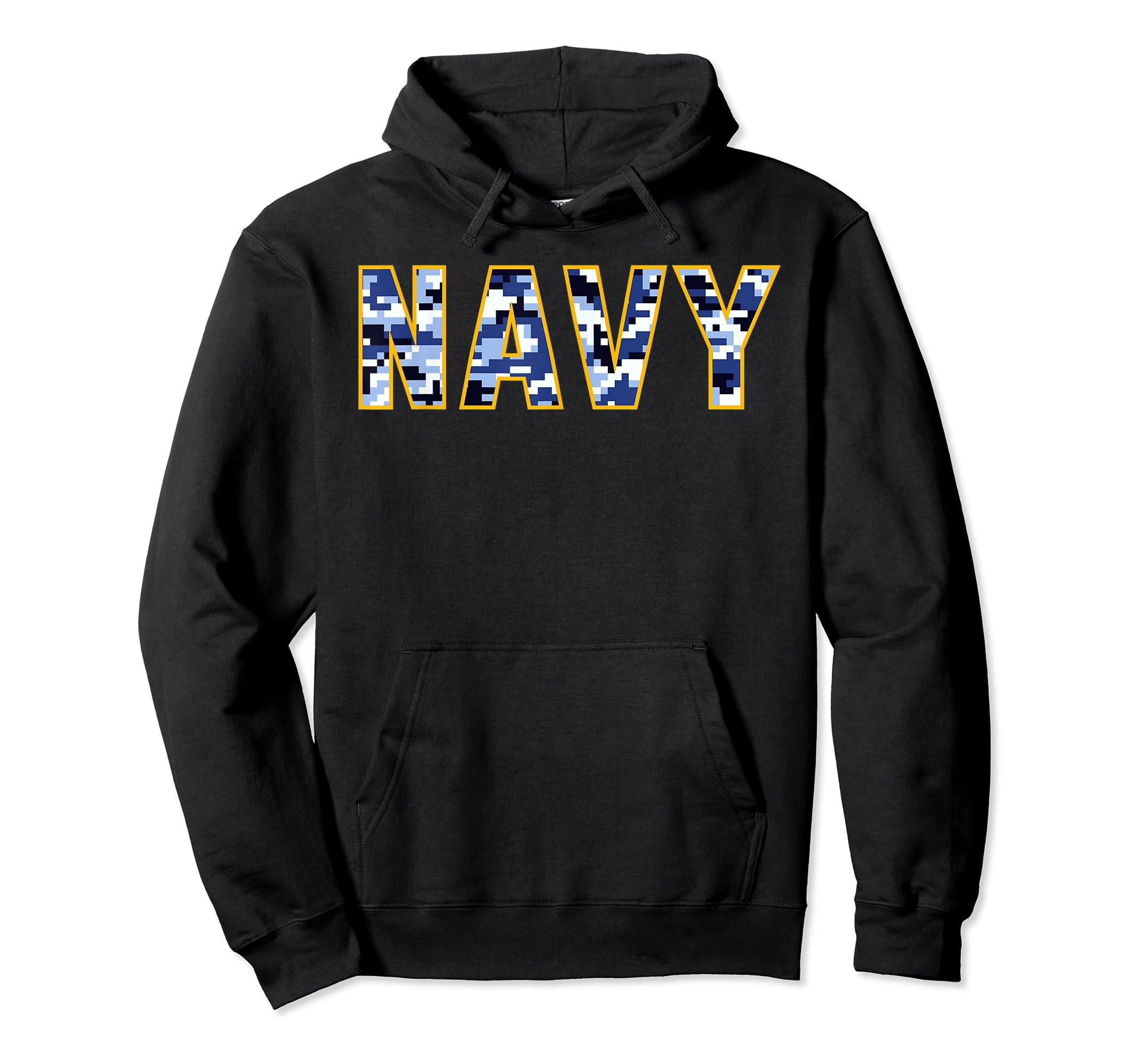 US Navy Camo Shirt Digital Camouflage Tee-Hoodie-Black