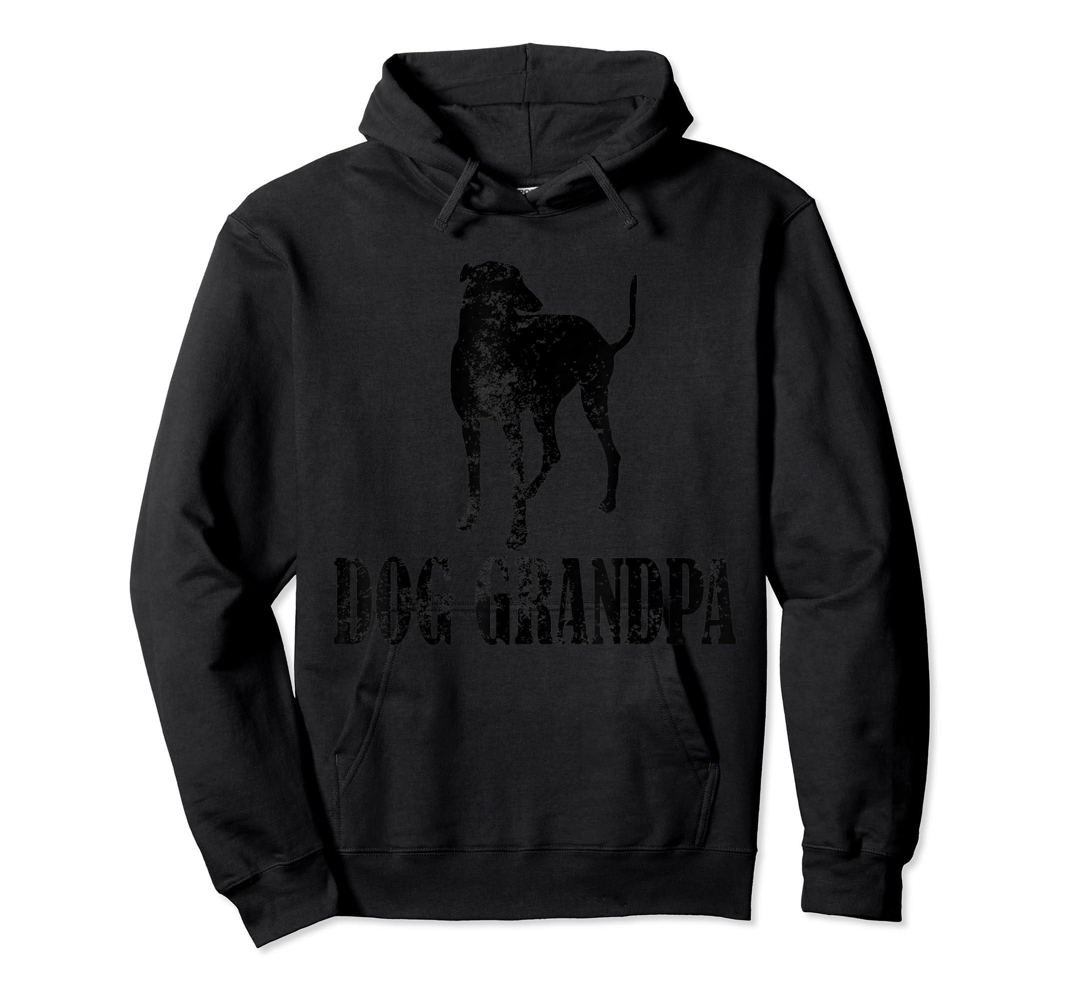 Father's Day T Shirt Greyhound Dog Grandpa T-Shirt Gifts-Hoodie-Black