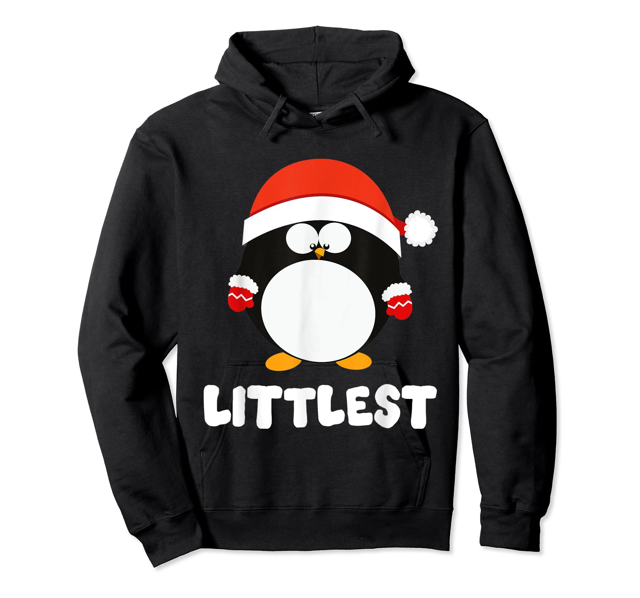Santa Littlest Penguin Christmas Family Matching Costume T-Shirt-Hoodie-Black