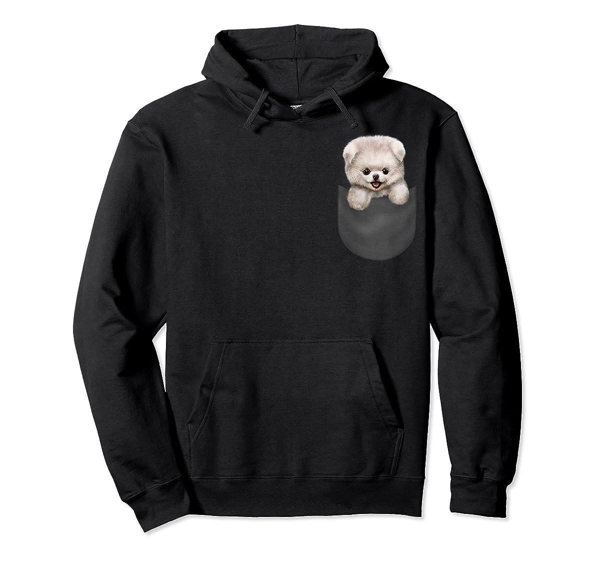 T-Shirt, Cute White Fluffy Pomeranian Puppy in Pocket, Dog-Hoodie-Black