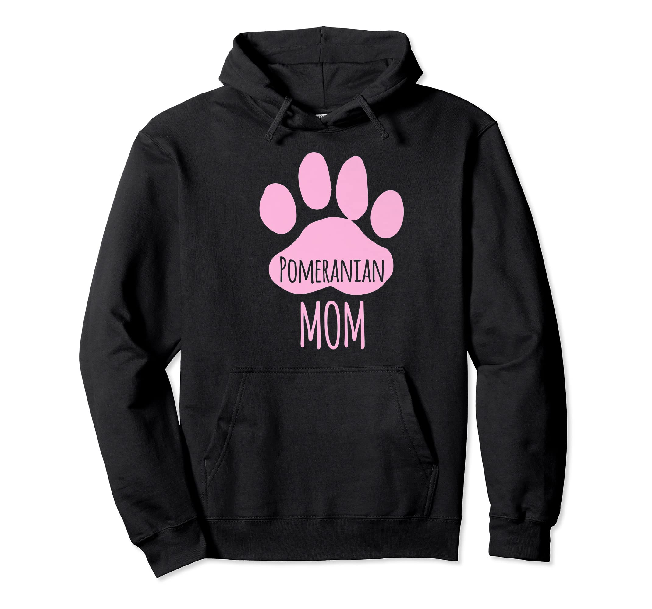 Cute Pomeranian Mom T Shirt for Pom Owner Dog Paw Pink-Hoodie-Black
