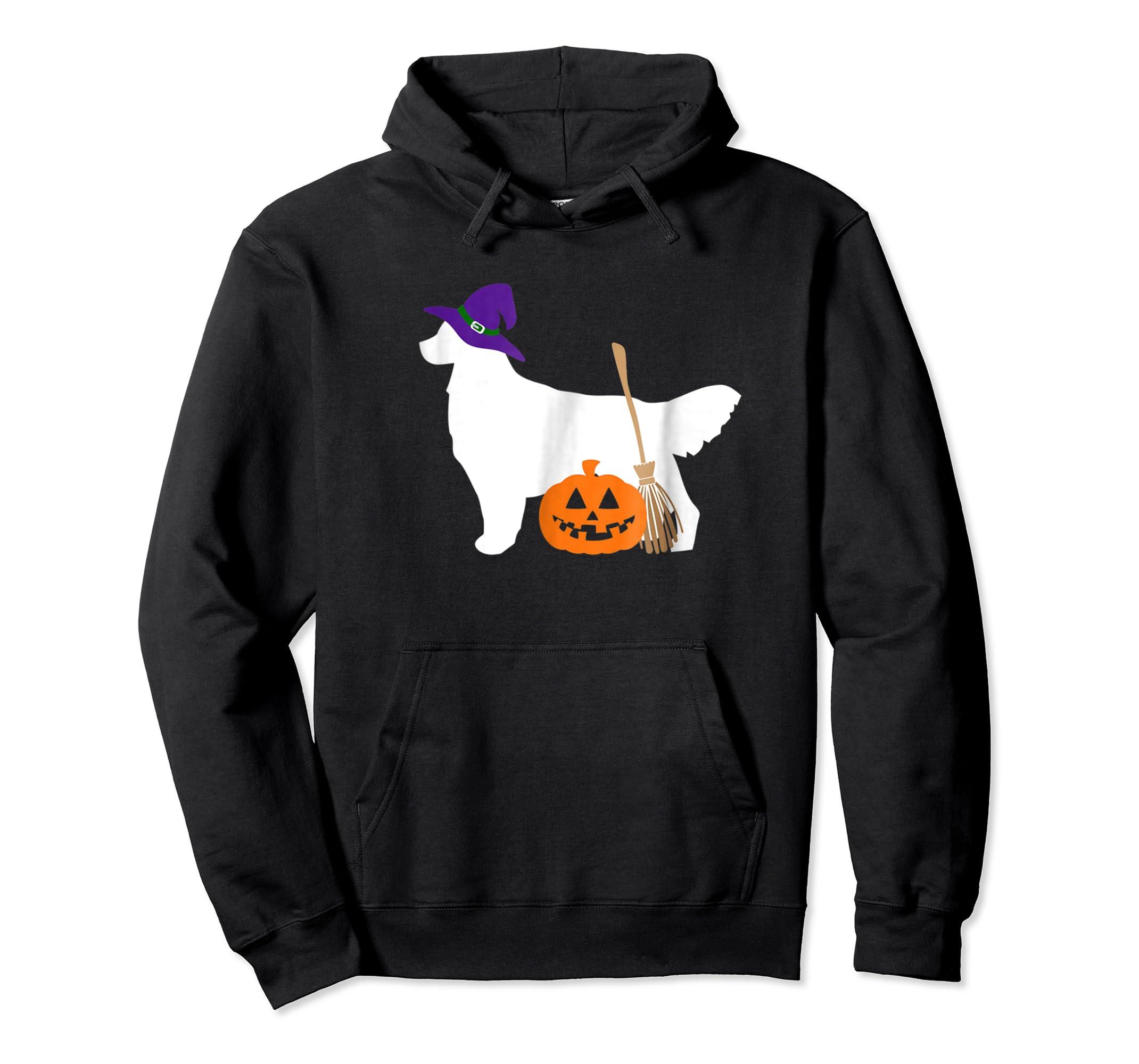 Golden Retriever Witch Hat Halloween Dog T-Shirt-Hoodie-Black