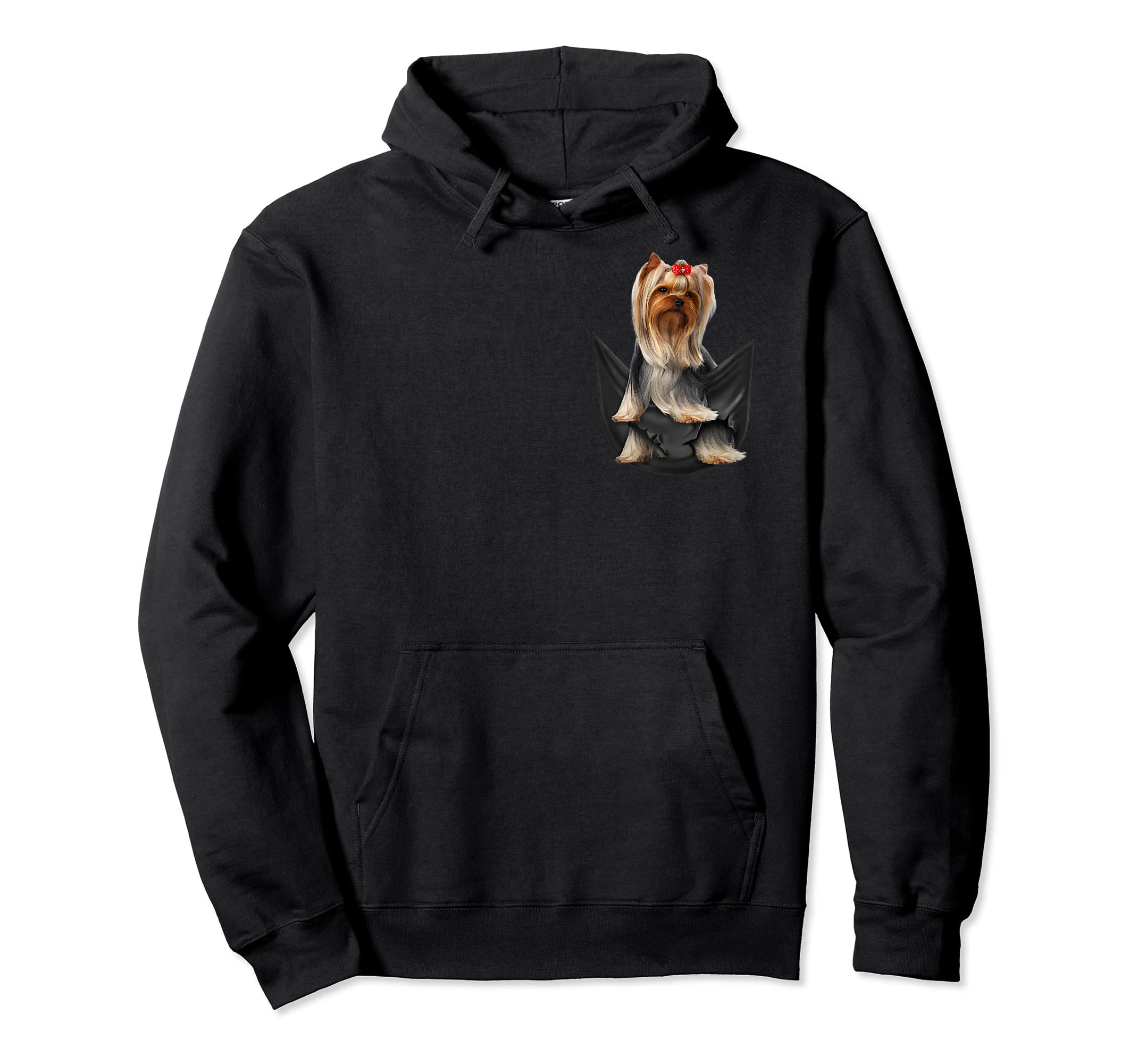 Yorkshire Terrier In Your Pocket Dog Lover Funny Gift Tshirt-Hoodie-Black