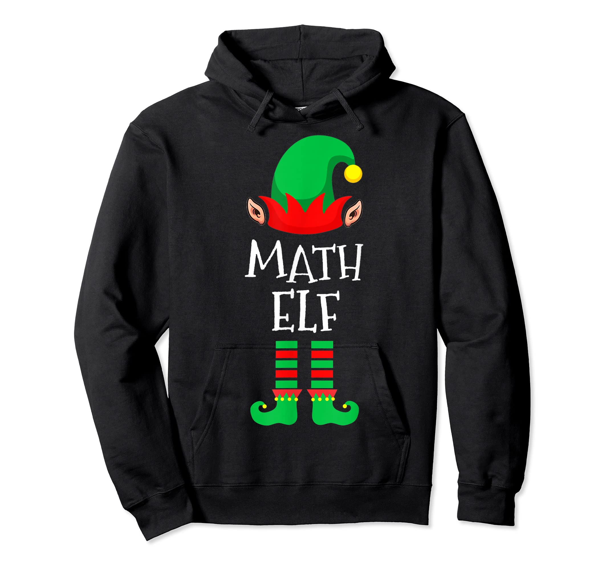 Math Elf - Funny School Teacher Christmas T-Shirt-Hoodie-Black