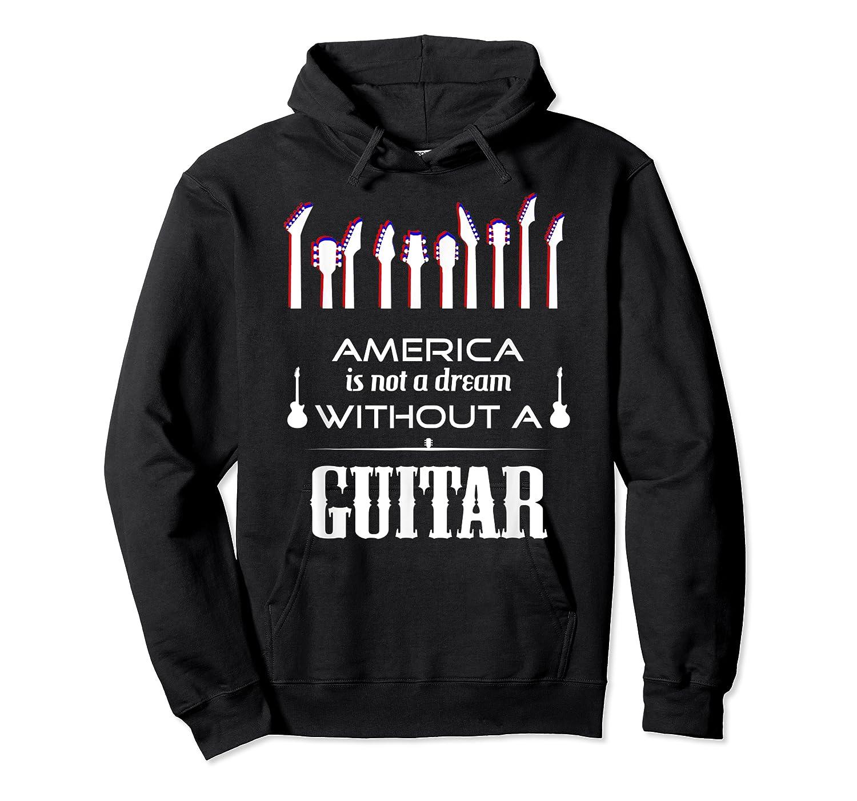 Patriot Guitarist T Shirt America Flag Guitar Unisex Pullover Hoodie