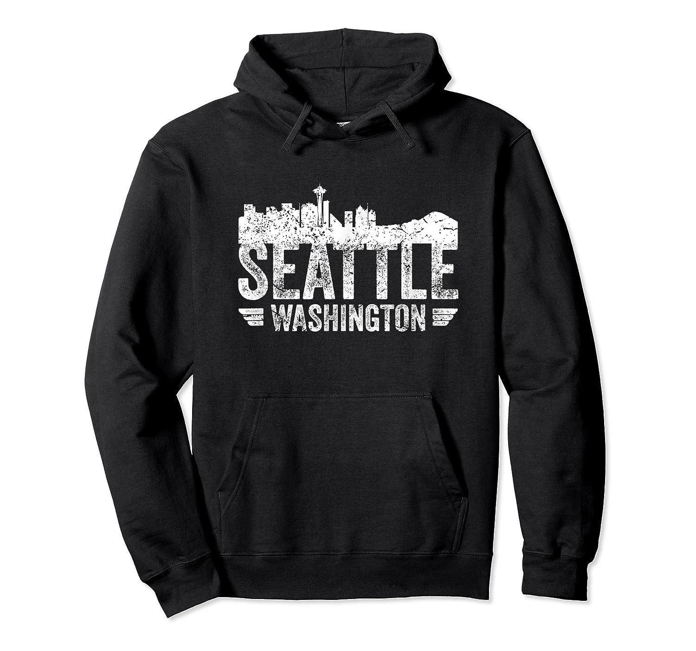 Seattle Skyline Tshirt Silhouette Distressed City Souvenir Unisex Pullover Hoodie