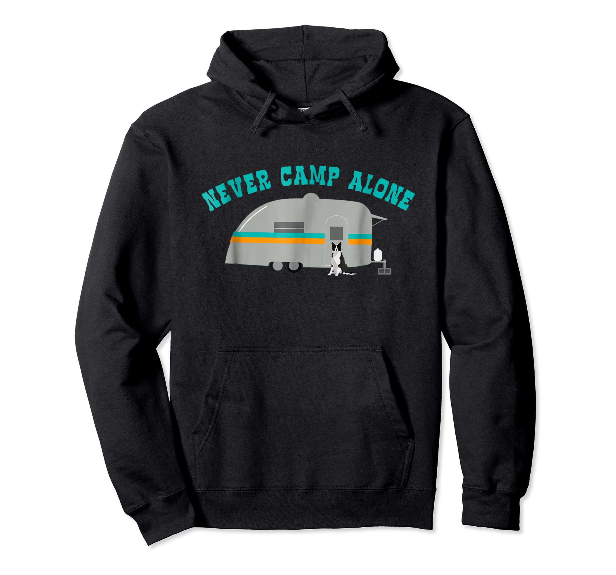 Border Collie Dog RV Shirt Funny Camping Travel Trailer-Hoodie-Black