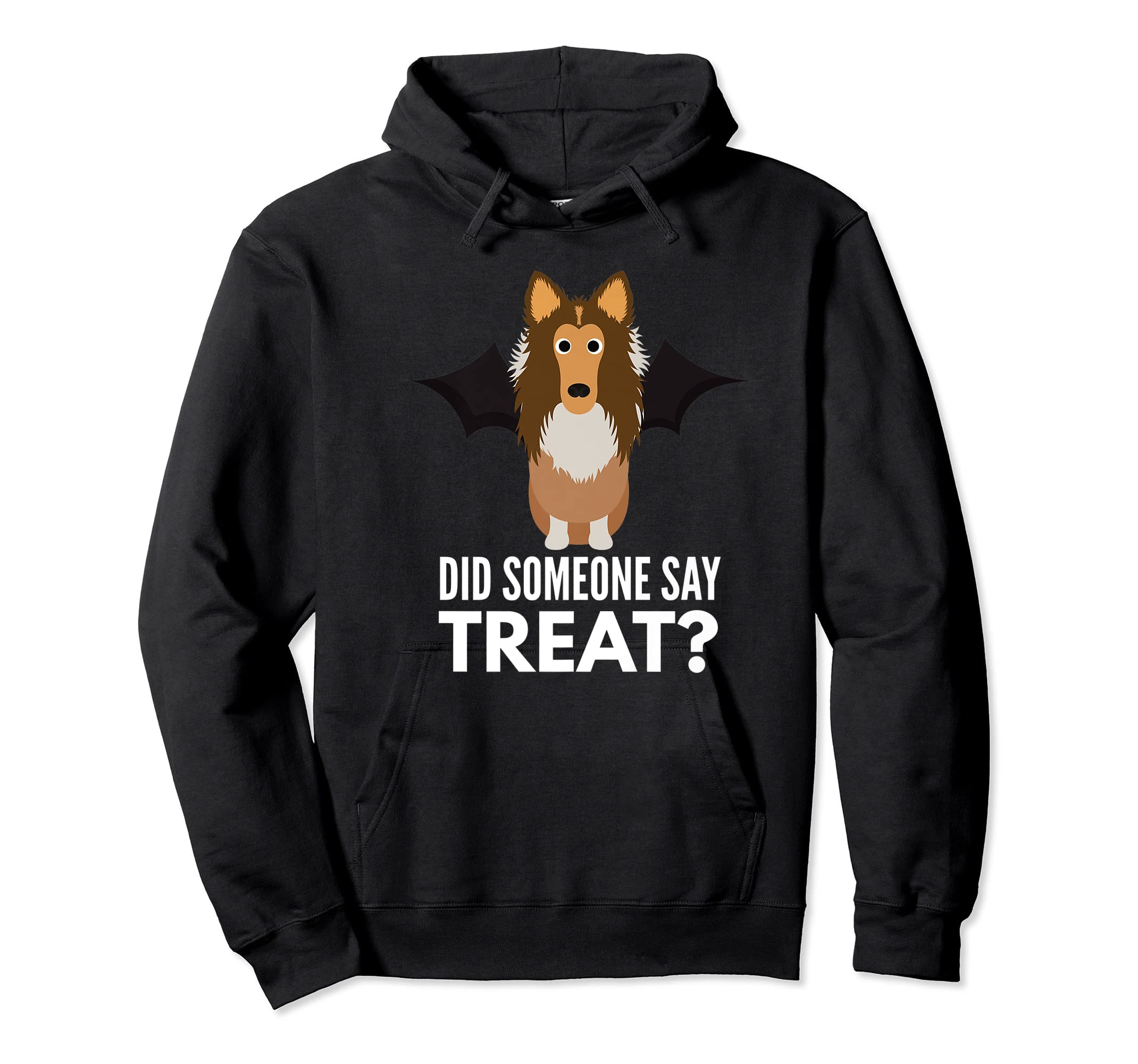 Rough Collie Halloween - Did Someone Say Treat? Premium T-Shirt-Hoodie-Black