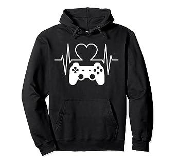 b45c5449 Amazon.com: Gamer Heartbeat Hoodie Funny Gift Hoodies For Video ...