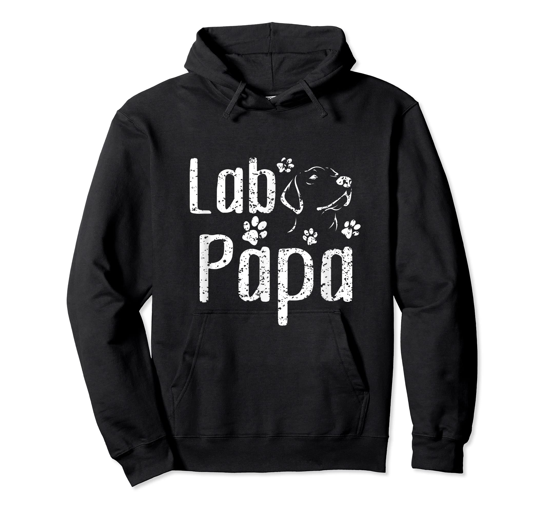 Lab Papa Labrador Retriever Vintage Tee Cute Lover Dog Dad T-Shirt-Hoodie-Black