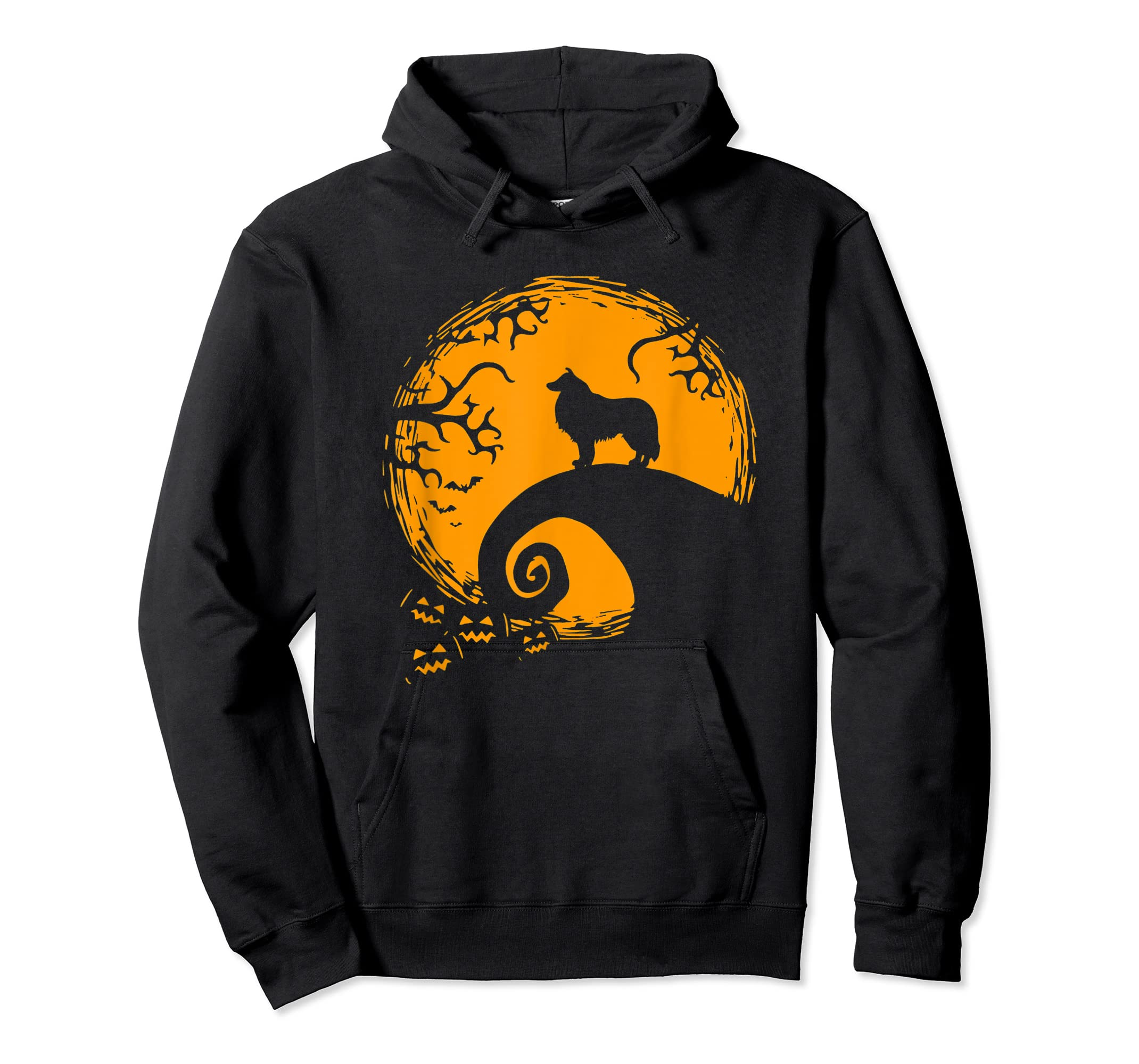 Funny Border Collie And Moon Halloween Costume Shirt-Hoodie-Black