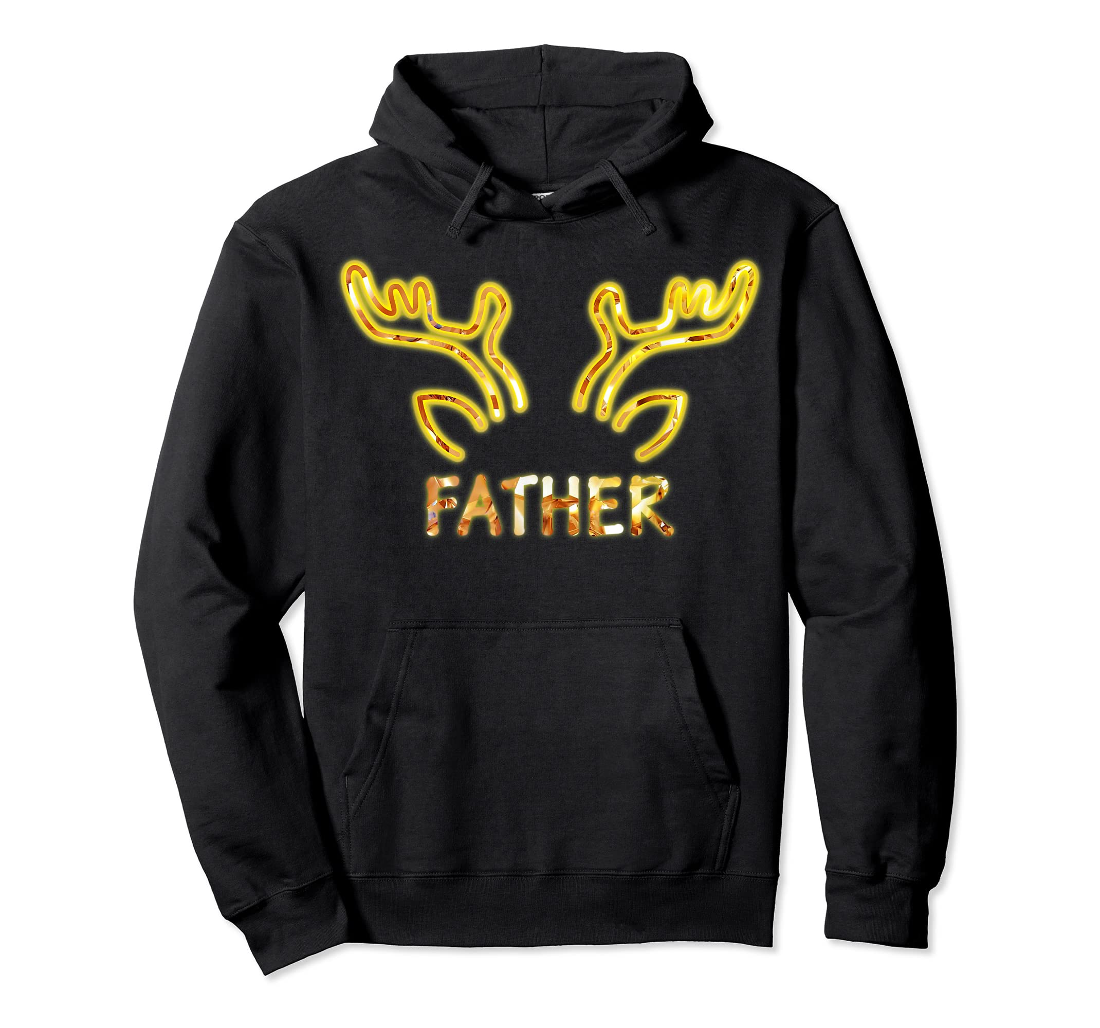 Father Reindeer Matching Family Christmas T-Shirt T-Shirt-Hoodie-Black