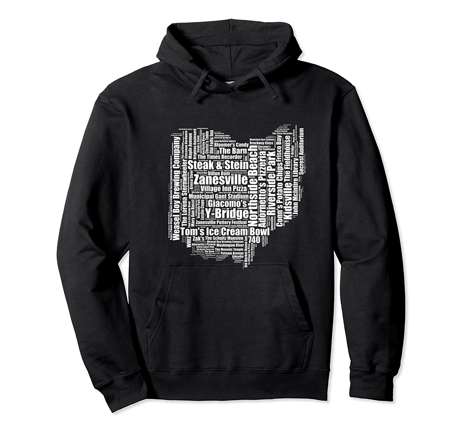 Zanesville Hometown Ohio State Shaped Wordcloud Shirts Unisex Pullover Hoodie