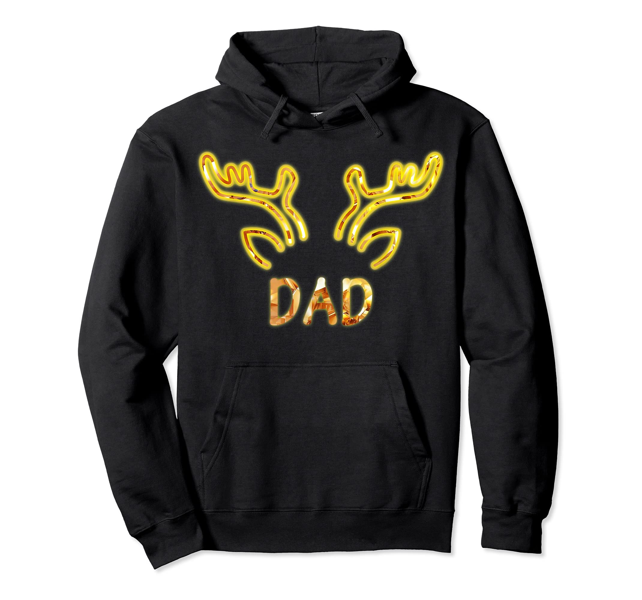 Dad Reindeer Matching Family Christmas T-Shirt T-Shirt-Hoodie-Black