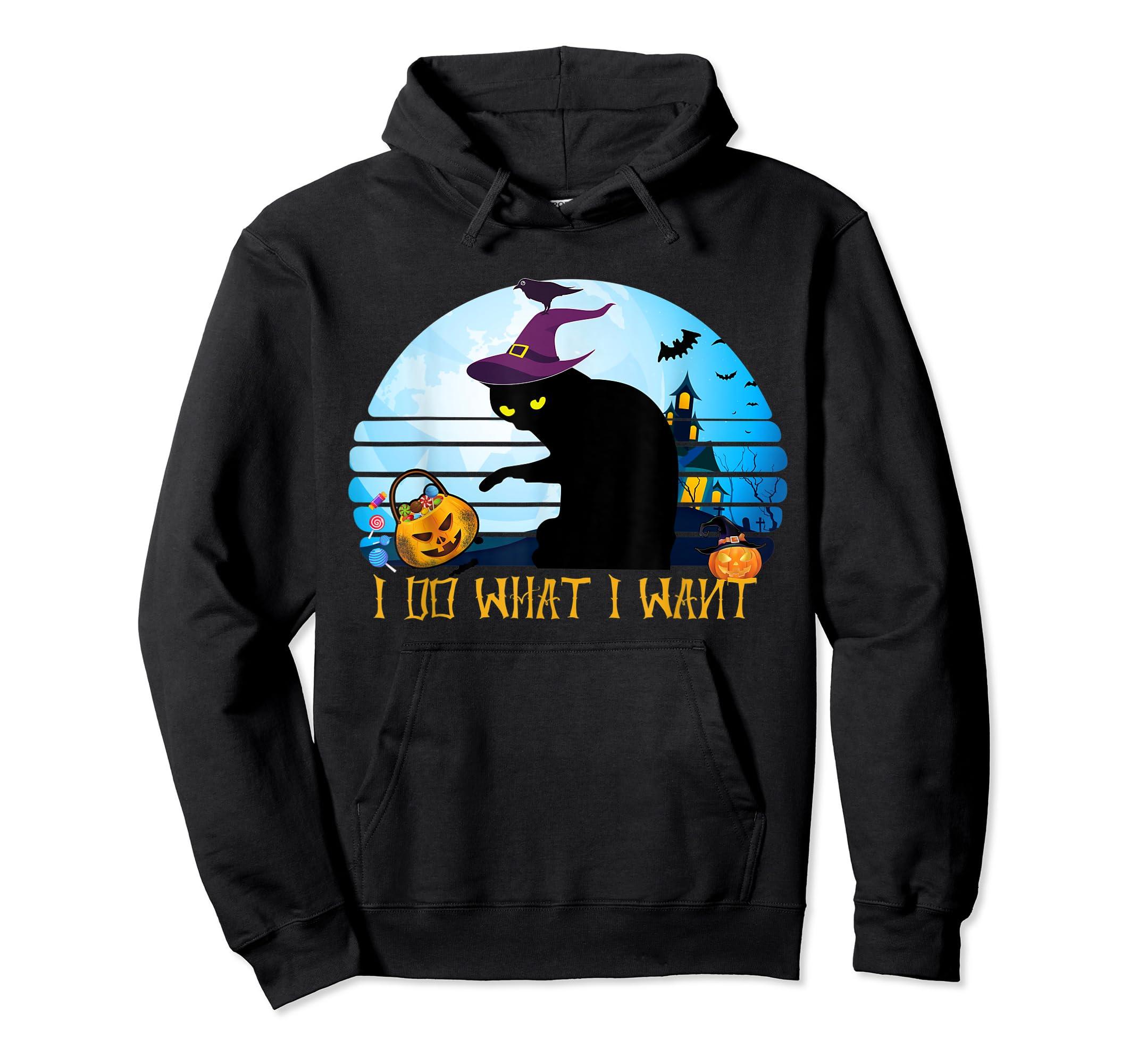 I Do What I Want Black Cat Tshirt Halloween Gift Cat Lovers-Hoodie-Black