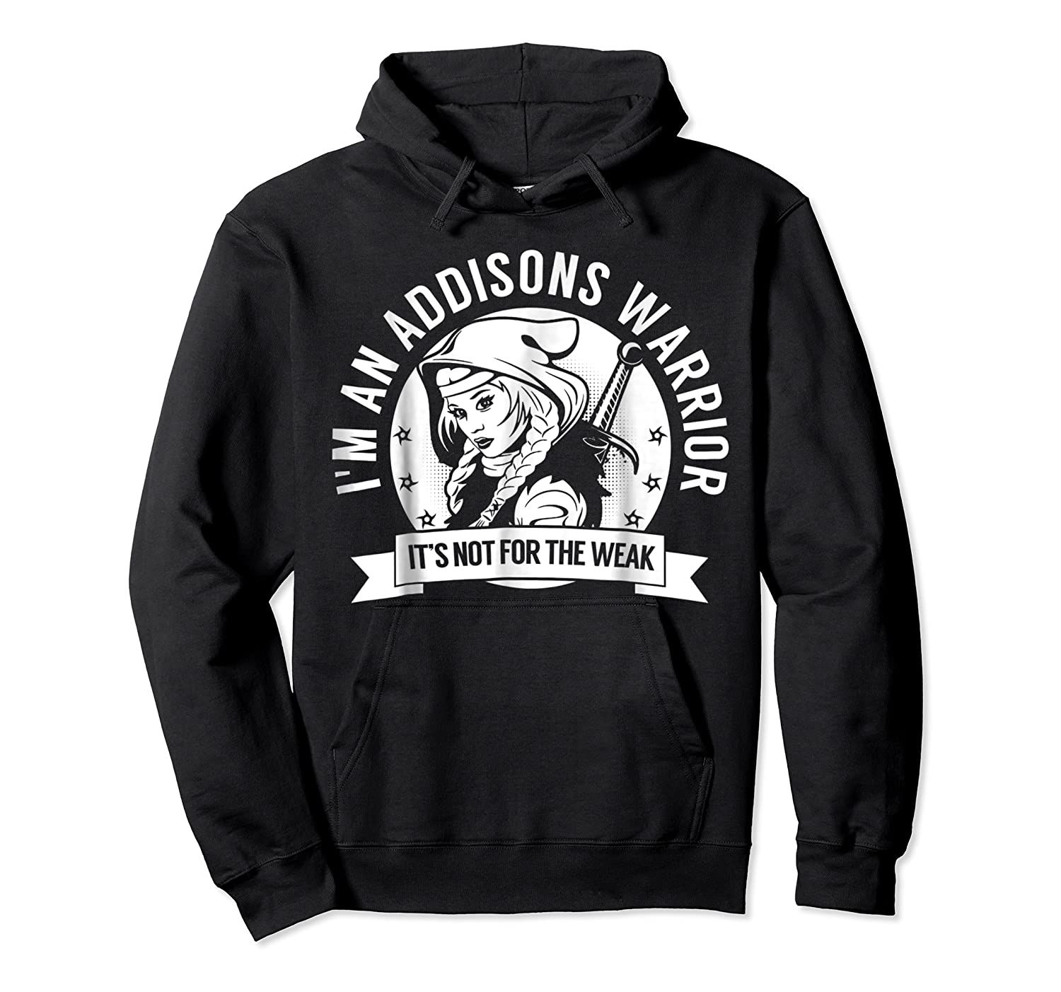 Addisons Hooded Warrior T-shirt- Addisons Disease Awareness Unisex Pullover Hoodie