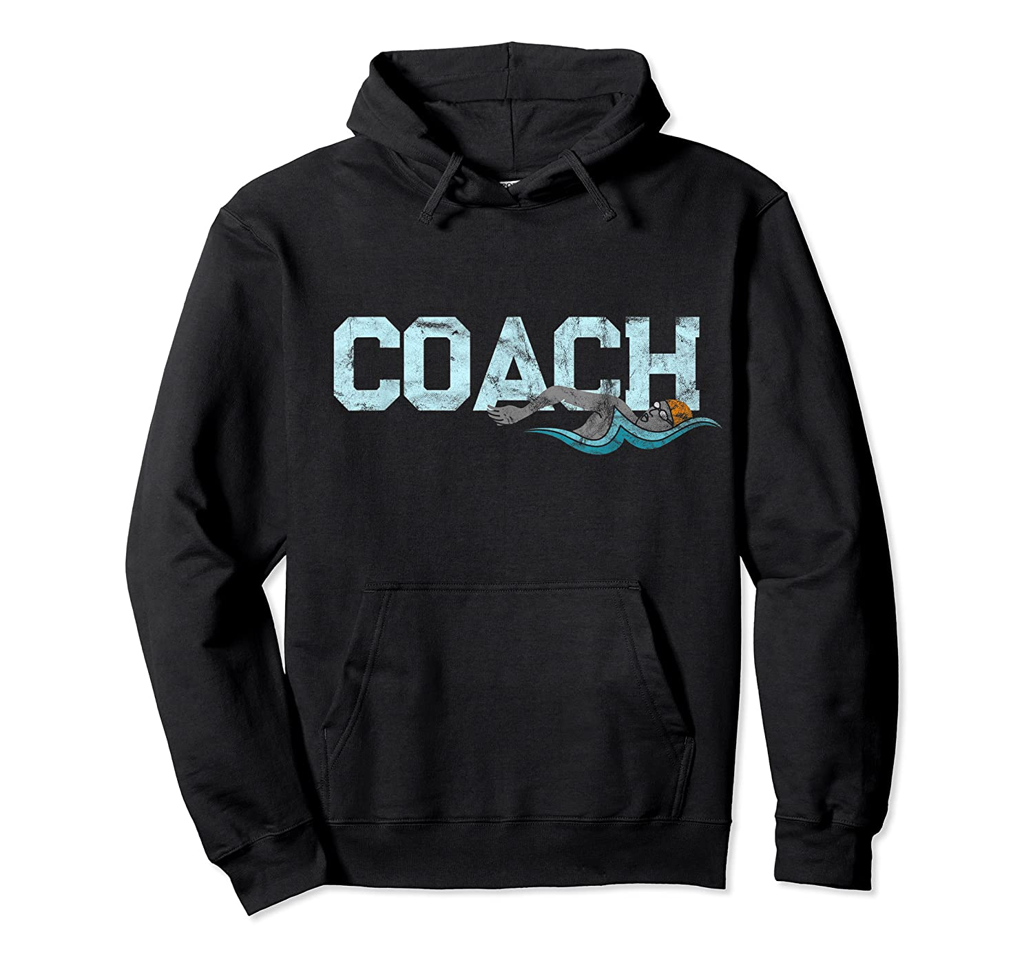 Swim Coach Gift Shirt Cool Distressed Swimming Trainer Tee Unisex Pullover Hoodie