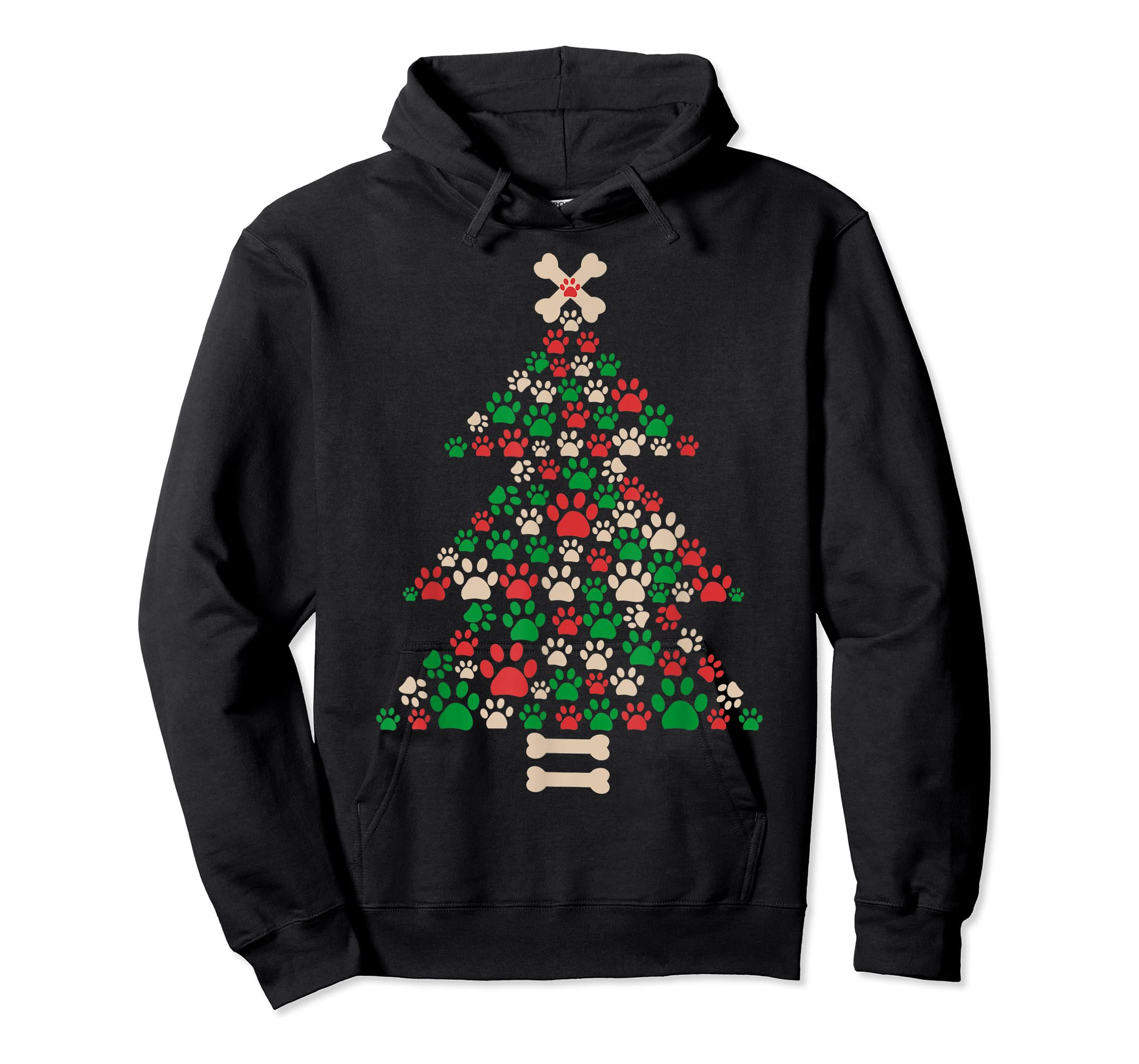 Christmas Tree Made Of Bones And Paw Prints Dog Lover T-Shirt-Hoodie-Black