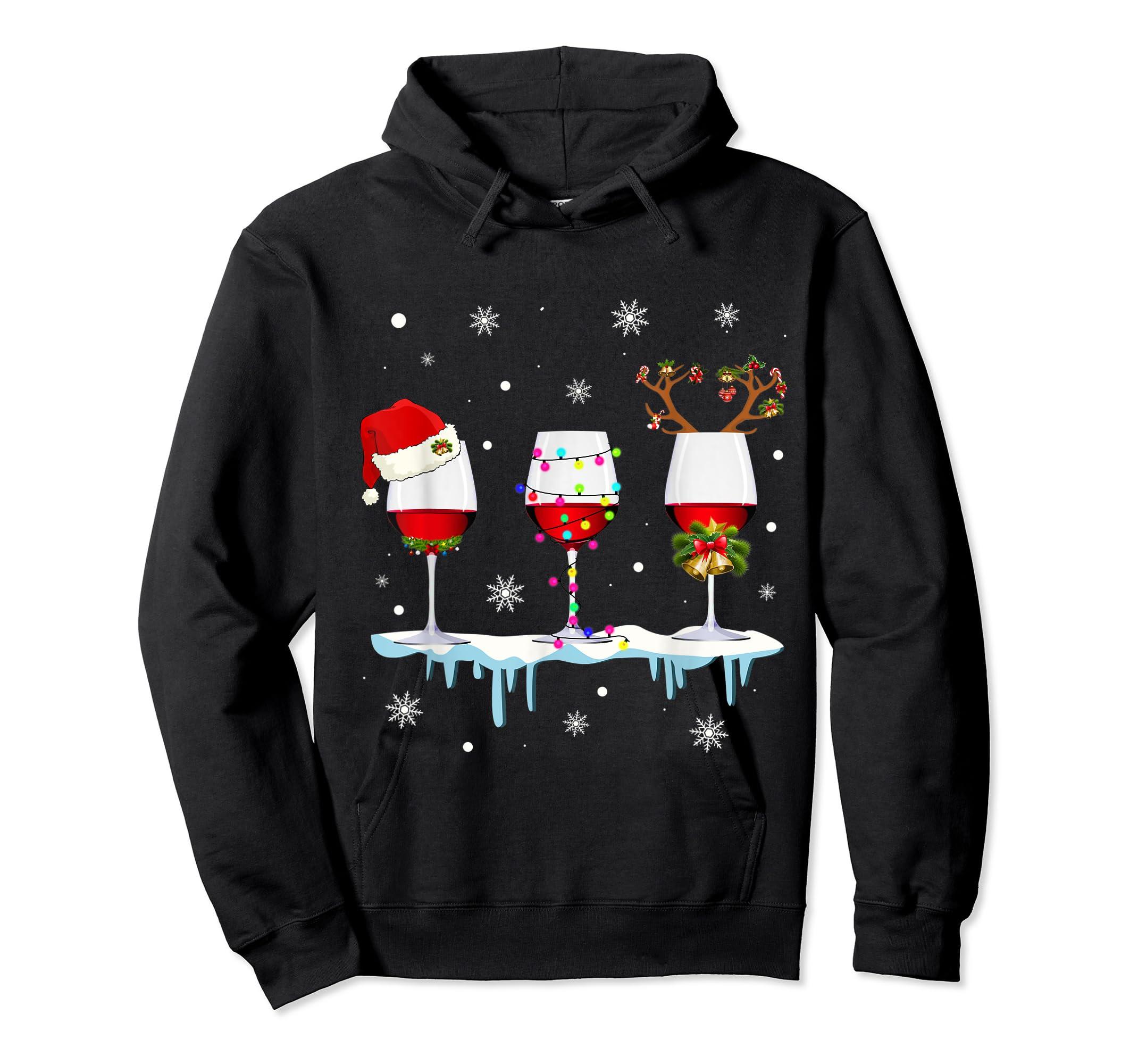 Three Glass of Red Wine Santa Hat Christmas T-Shirt-Hoodie-Black