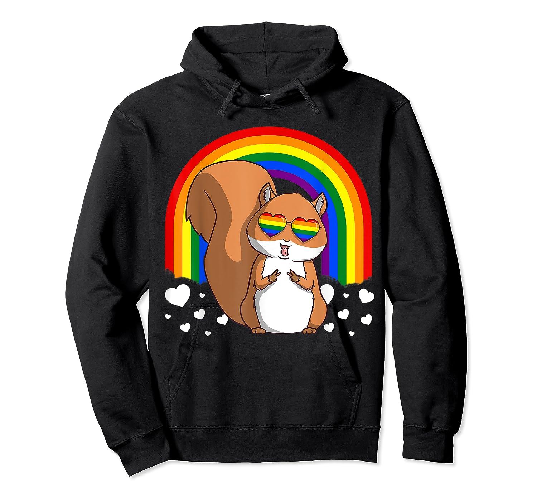 Squirrel Gay Pride Rainbow Q Cute Gift Shirts Unisex Pullover Hoodie