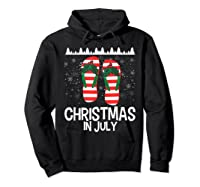 Christmas In July Santa Flip Flop Summer Xmas Gift Shirts Hoodie Black