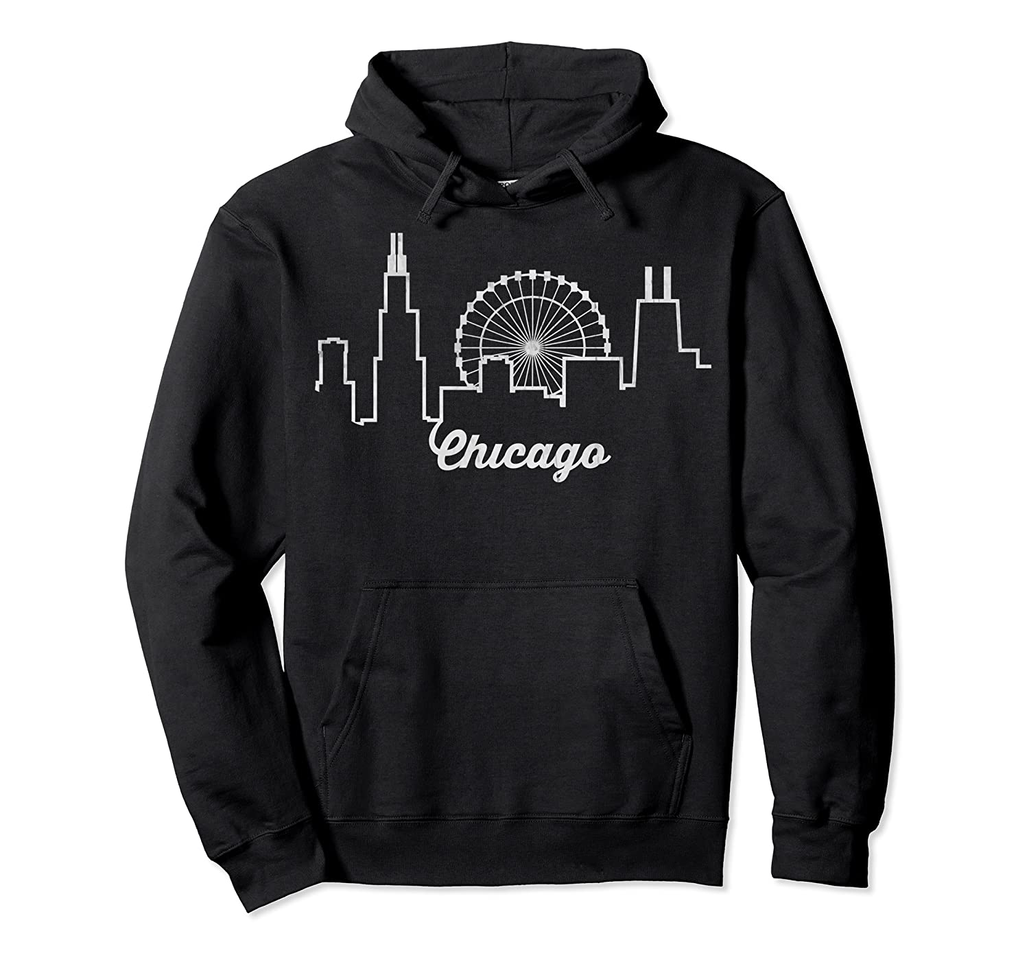 Chicago Skyline Shirt Silhouette Il City Flag T Shirt Unisex Pullover Hoodie