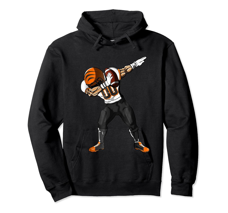 Football Dabbing T Shirt Funny Black Orange  Unisex Pullover Hoodie