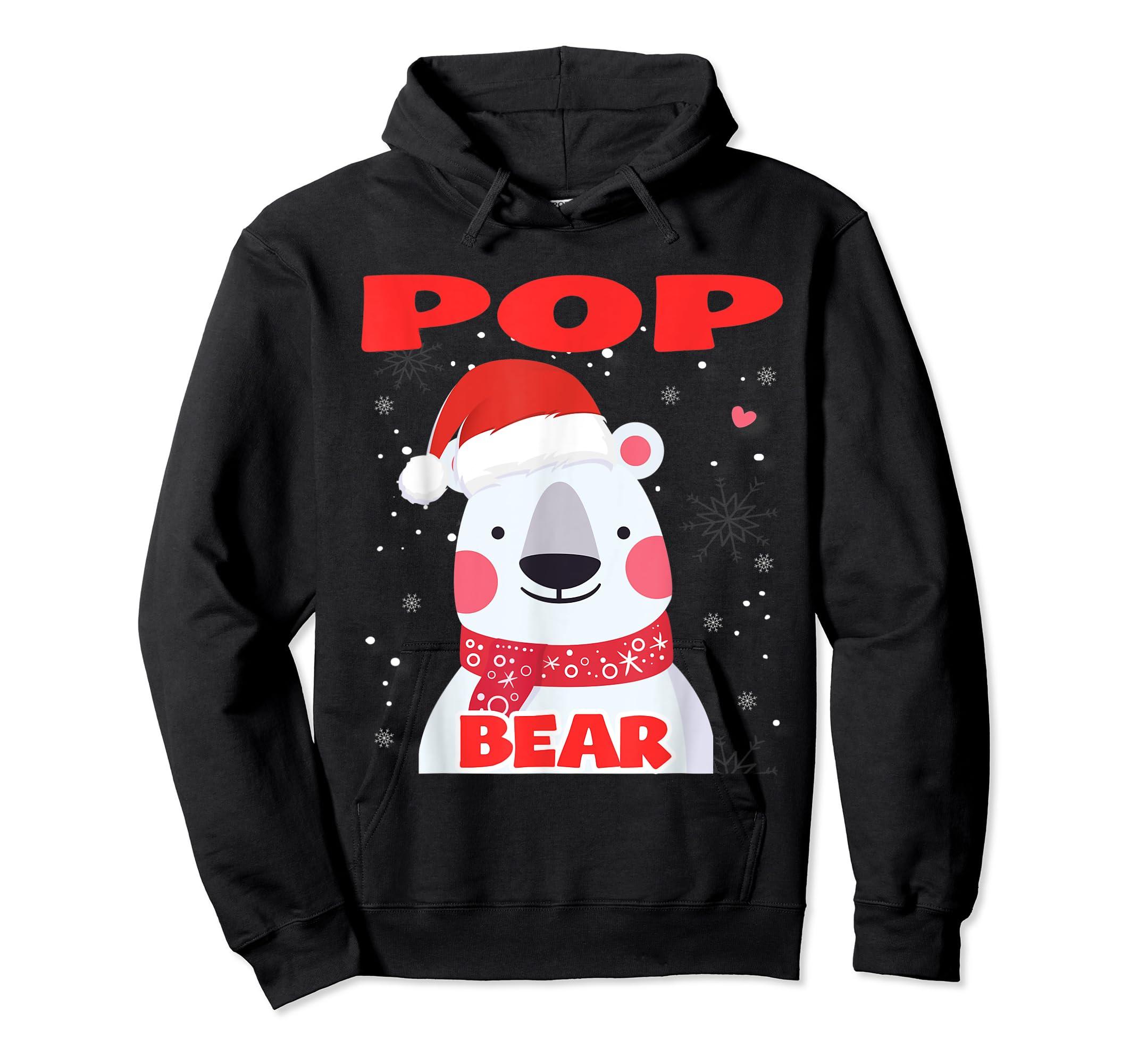 Pop Bear Christmas Grandpa Santa T-Shirt-Hoodie-Black
