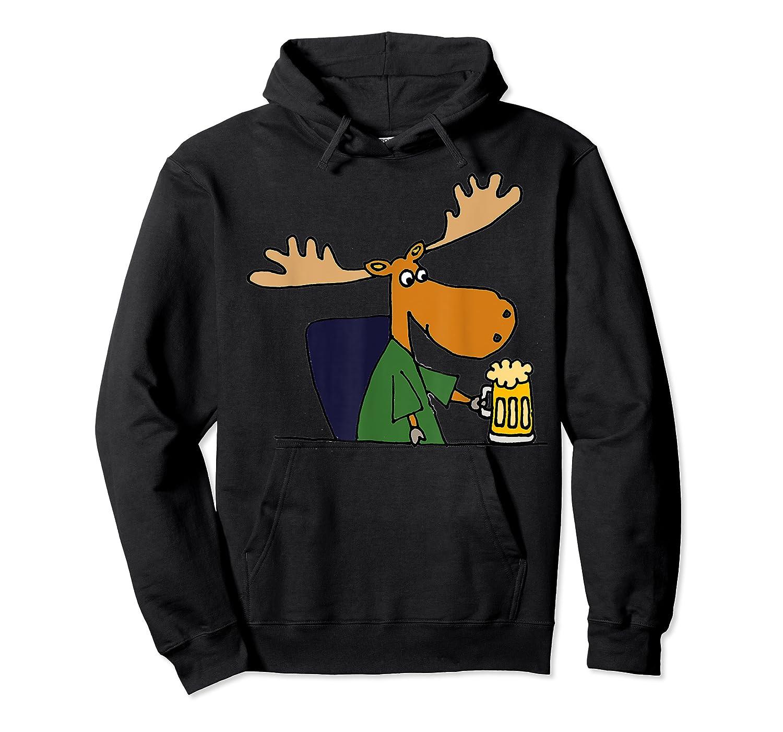 Smiletodaytees Funny Moose Drinking Mug Of Beer T-shirt Unisex Pullover Hoodie