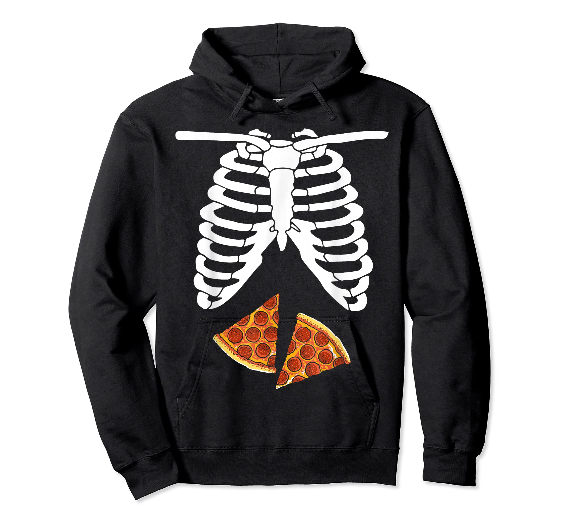 Halloween Skeleton Xray Pizza Slices Costume Rib Cage Easy T-Shirt-Hoodie-Black